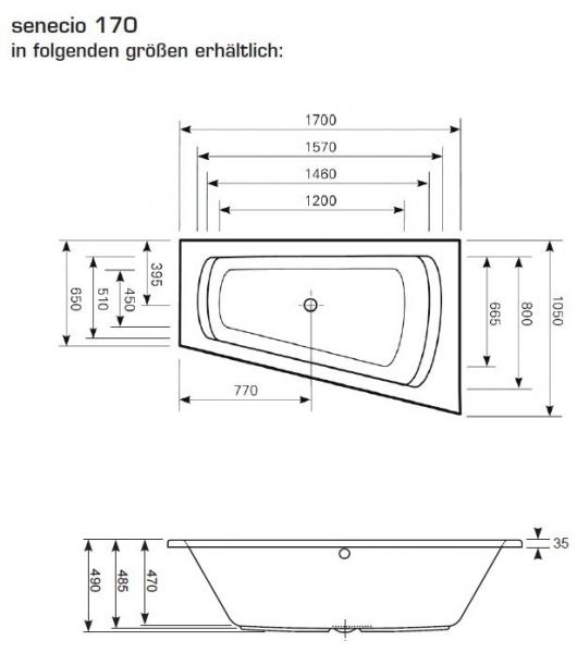 Mauersberger senecio 170 links Raumsparwanne